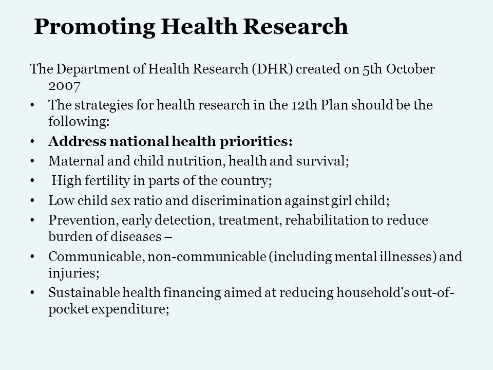 Promoting Health Research