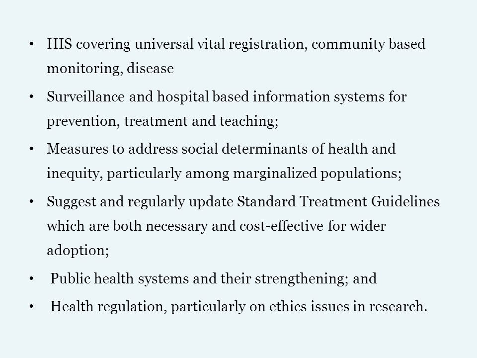 HIS covering universal vital registration, community based monitoring, disease