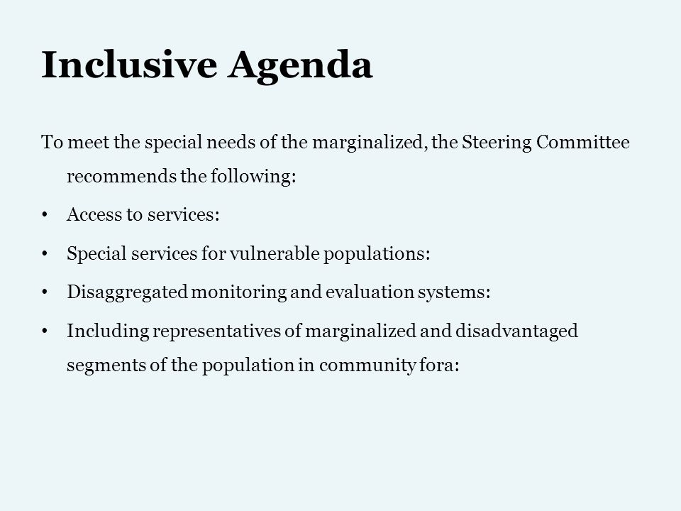 Inclusive Agenda To meet the special needs of the marginalized, the Steering Committee recommends the following: