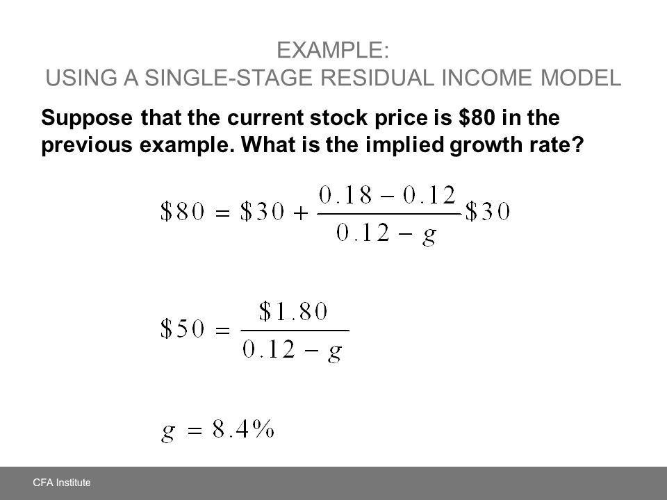 Example: Using a Single-Stage Residual Income Model