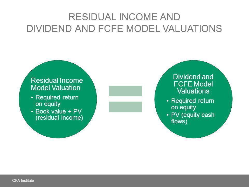Residual Income and Dividend and FCFE Model Valuations