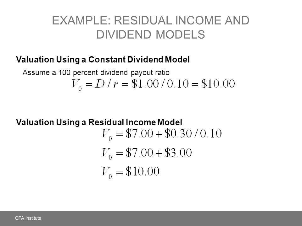 Example: Residual Income and Dividend Models