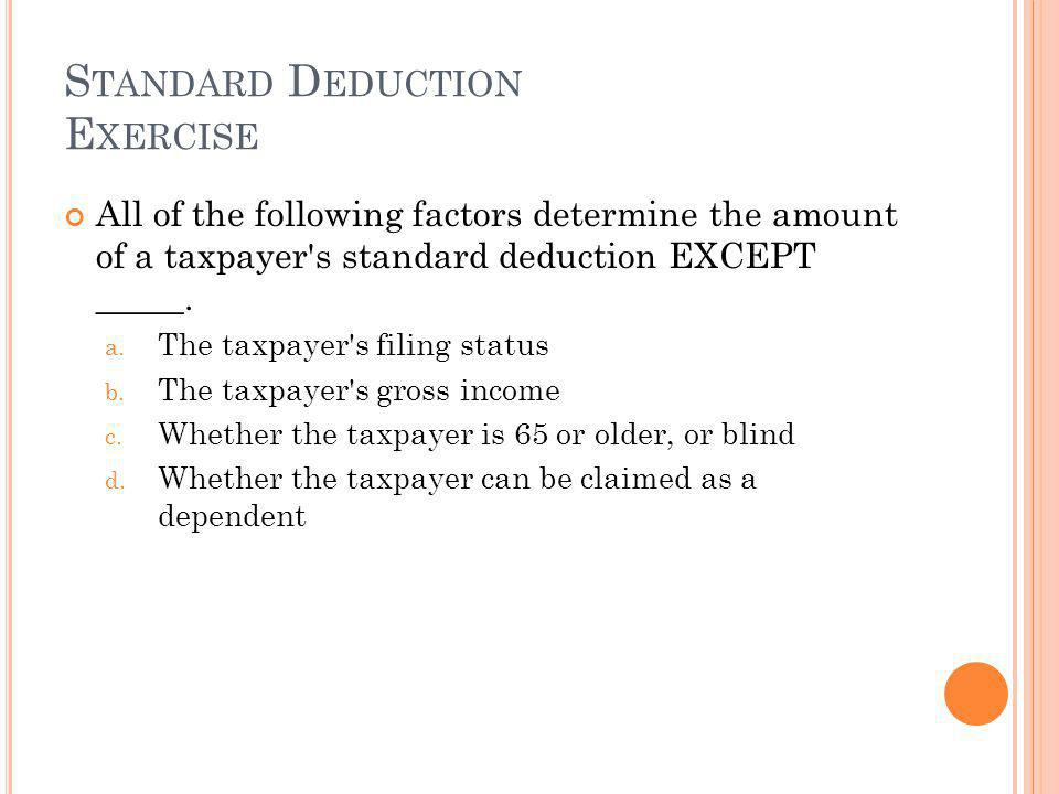 Standard Deduction Exercise