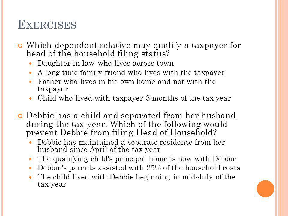 Exercises Which dependent relative may qualify a taxpayer for head of the household filing status
