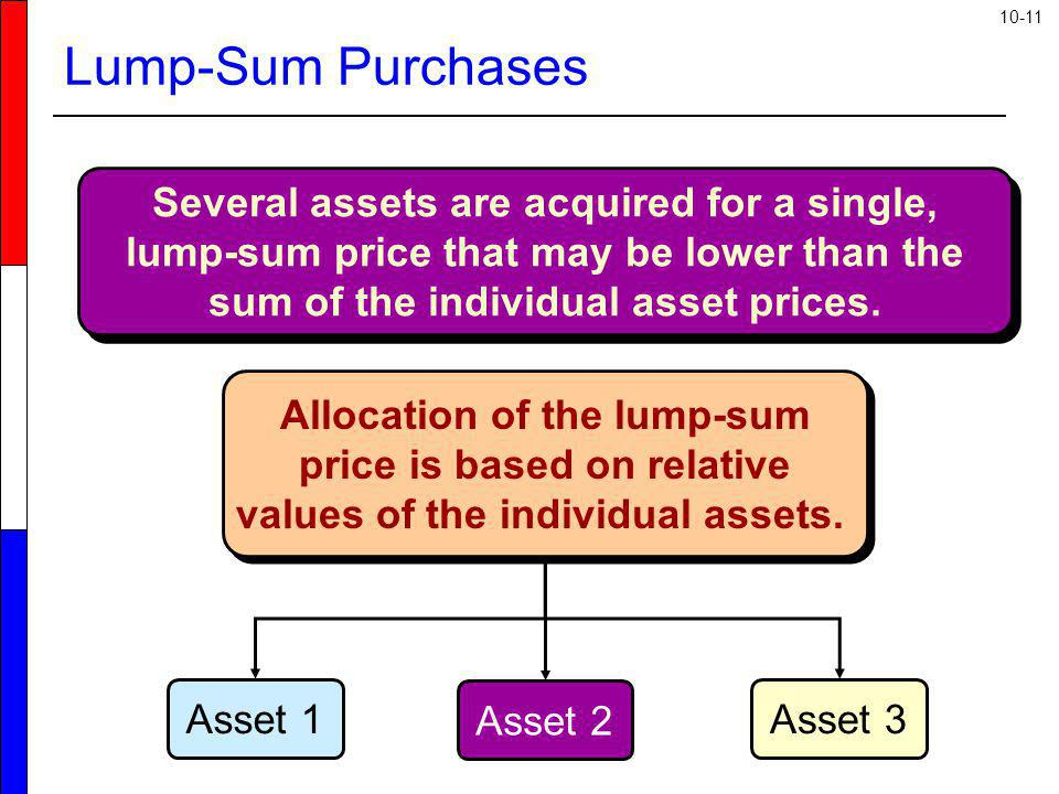 Lump-Sum Purchases Several assets are acquired for a single, lump-sum price that may be lower than the sum of the individual asset prices.
