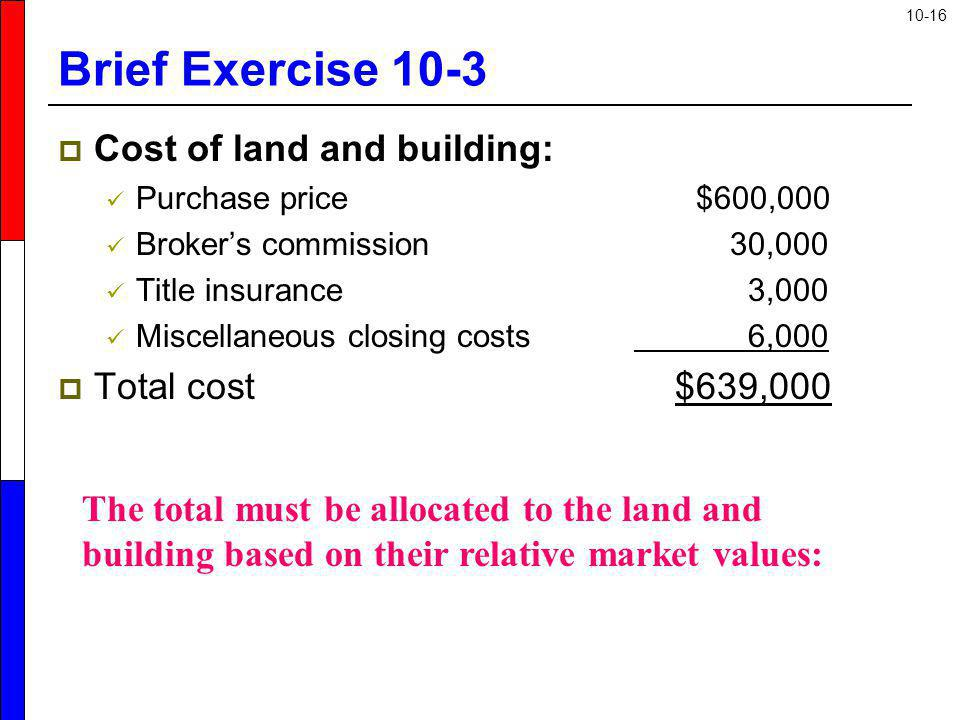 Brief Exercise 10-3 Cost of land and building: Total cost $639,000