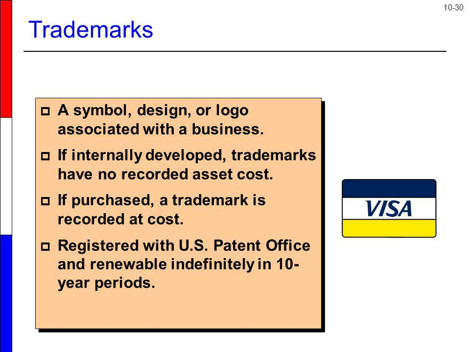 Trademarks A symbol, design, or logo associated with a business.