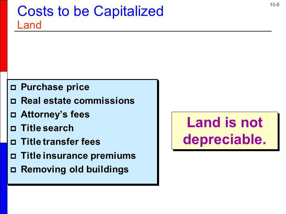 Costs to be Capitalized Land