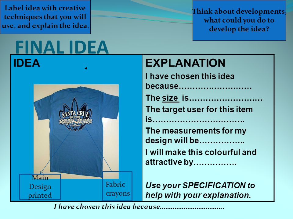 FINAL IDEA IDEA EXPLANATION I have chosen this idea because………………………