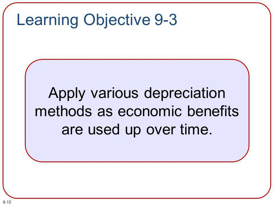 Learning Objective 9-3 Apply various depreciation methods as economic benefits are used up over time.