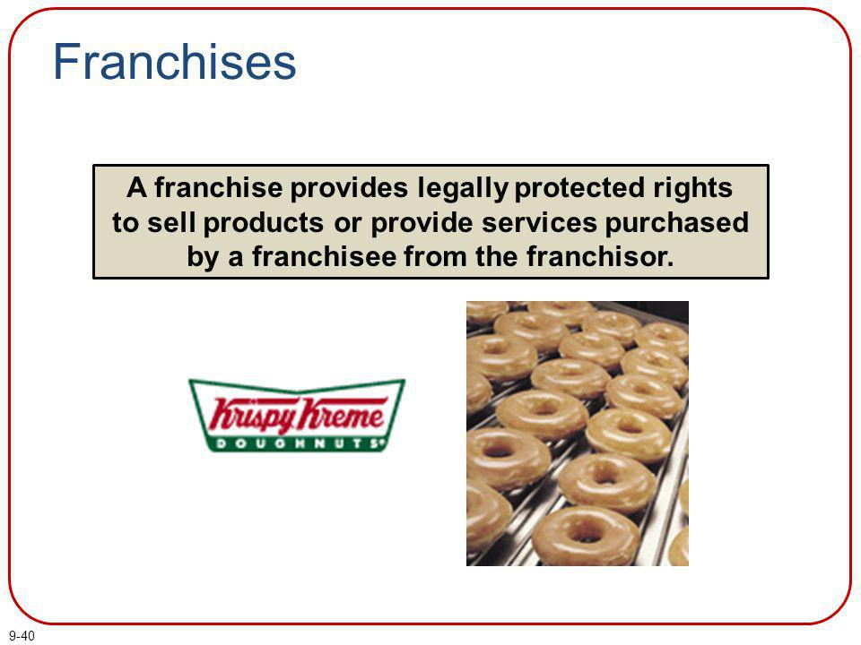 Franchises A franchise provides legally protected rights to sell products or provide services purchased by a franchisee from the franchisor.