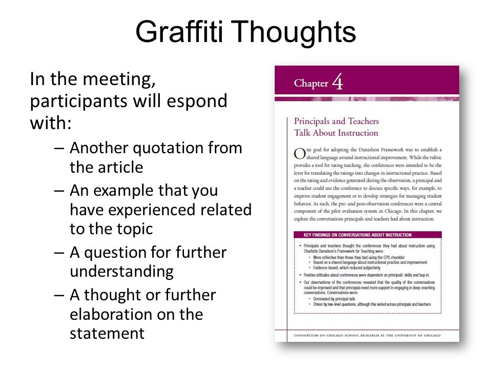 Graffiti Thoughts In the meeting, participants will espond with: