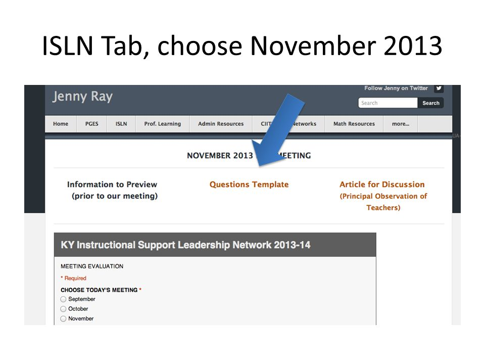 ISLN Tab, choose November 2013
