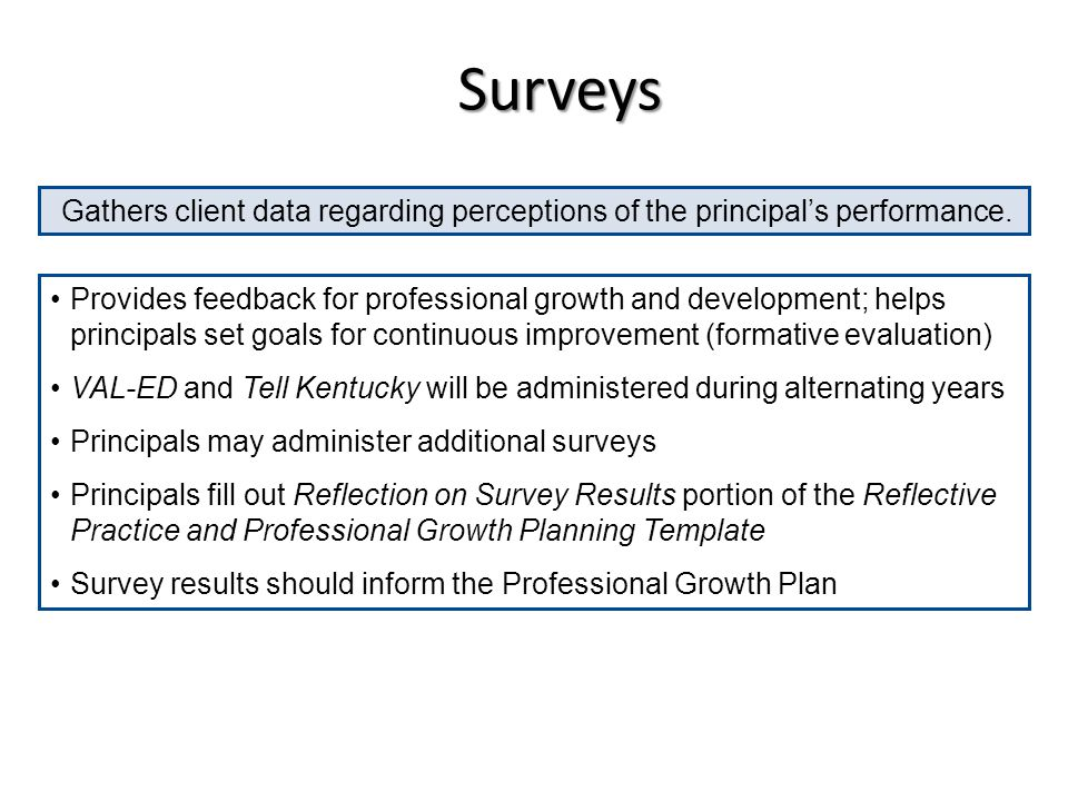 Surveys Gathers client data regarding perceptions of the principal's performance.