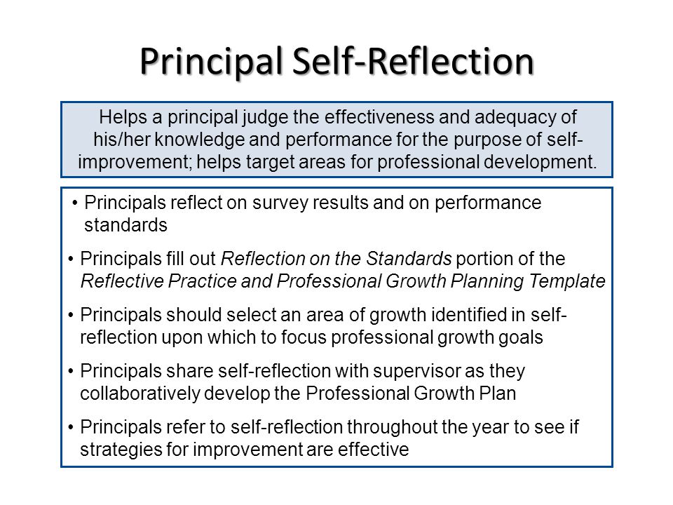 Principal Self-Reflection