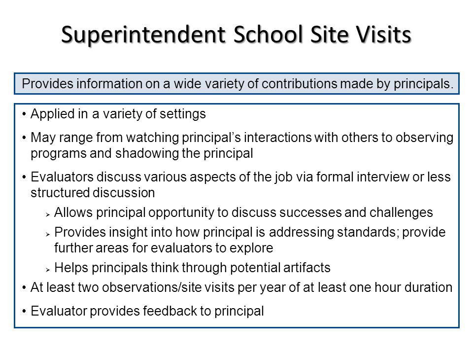 Superintendent School Site Visits