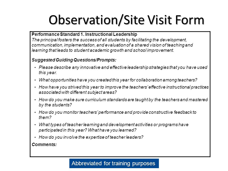 Observation/Site Visit Form
