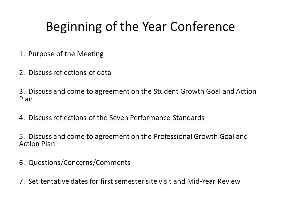 Beginning of the Year Conference