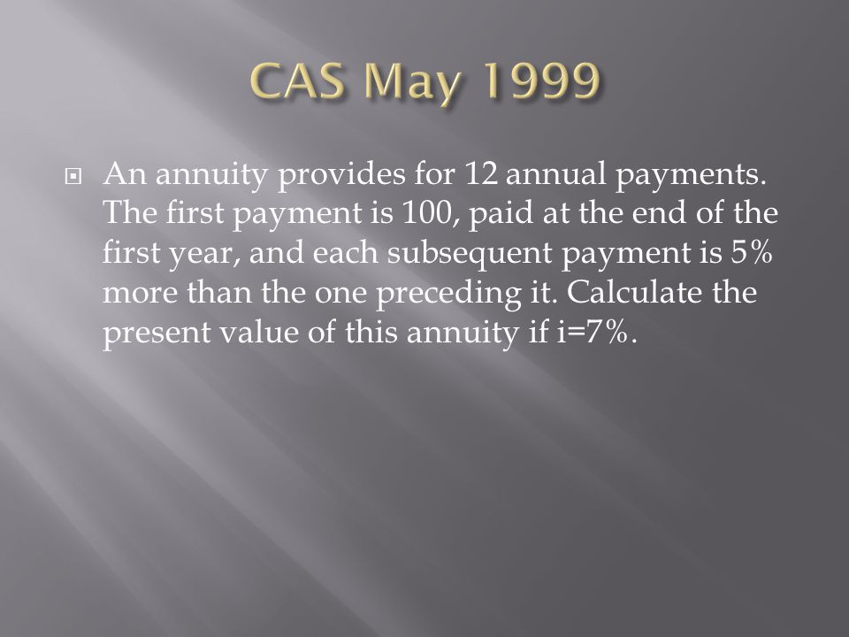 CAS May 1999