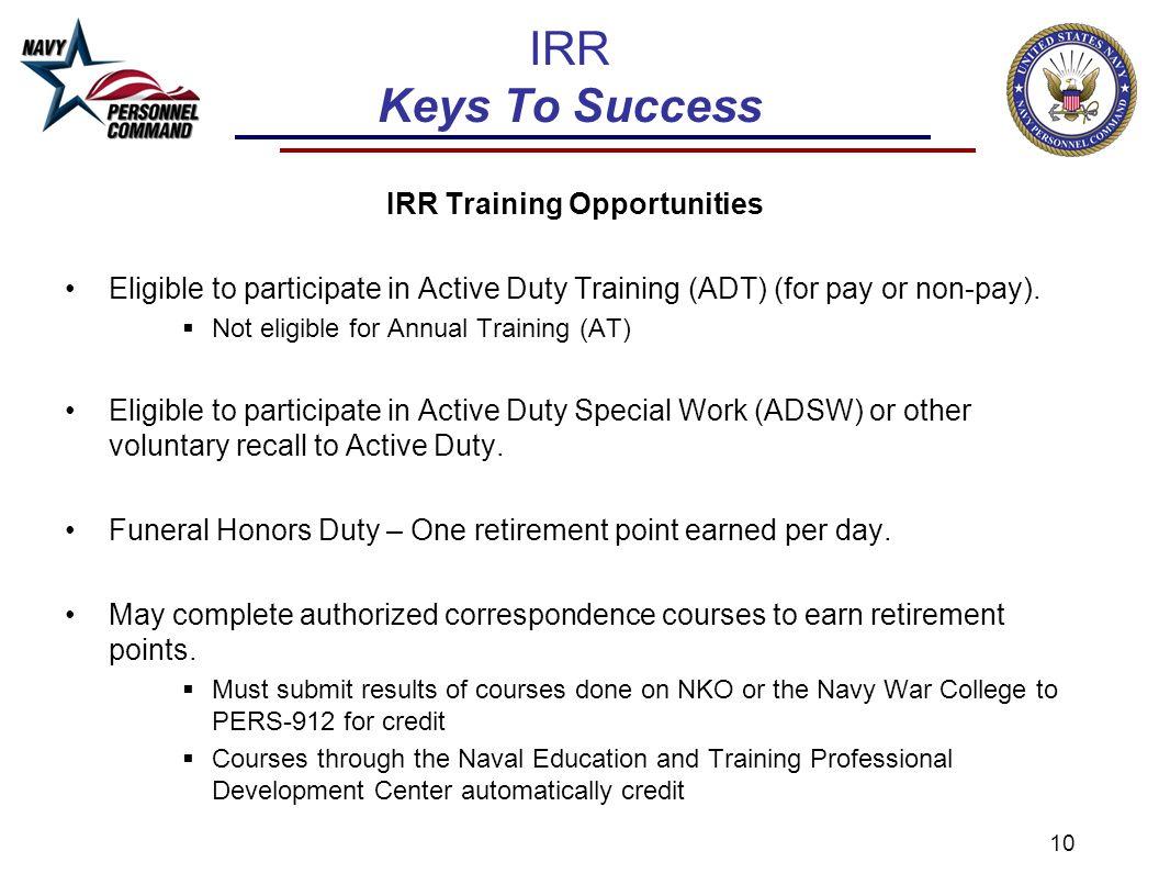 IRR Training Opportunities