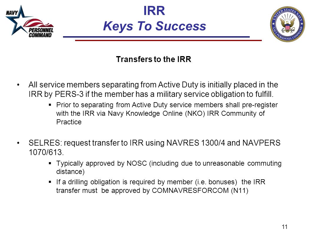 IRR Keys To Success Transfers to the IRR