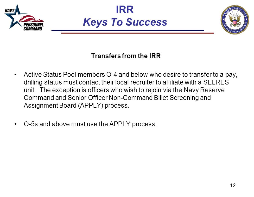 IRR Keys To Success Transfers from the IRR