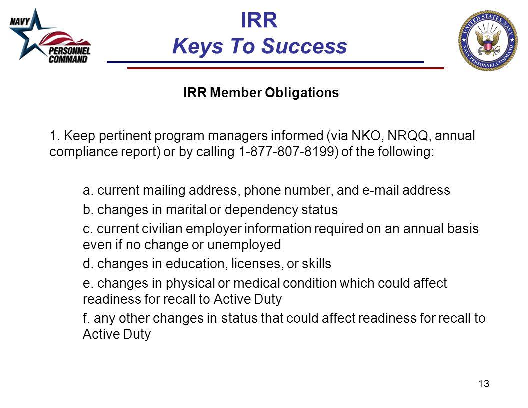 IRR Keys To Success