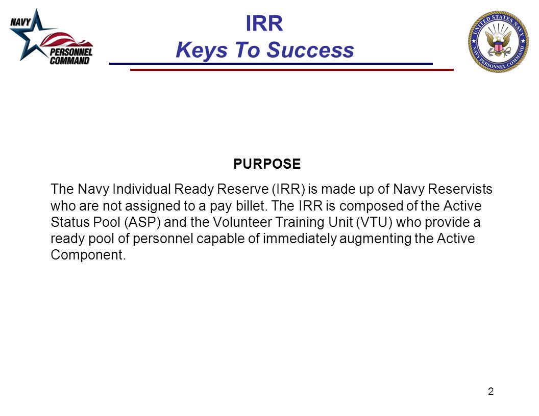 IRR Keys To Success PURPOSE.