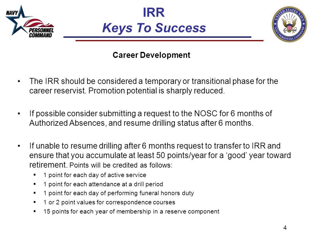 IRR Keys To Success Career Development.
