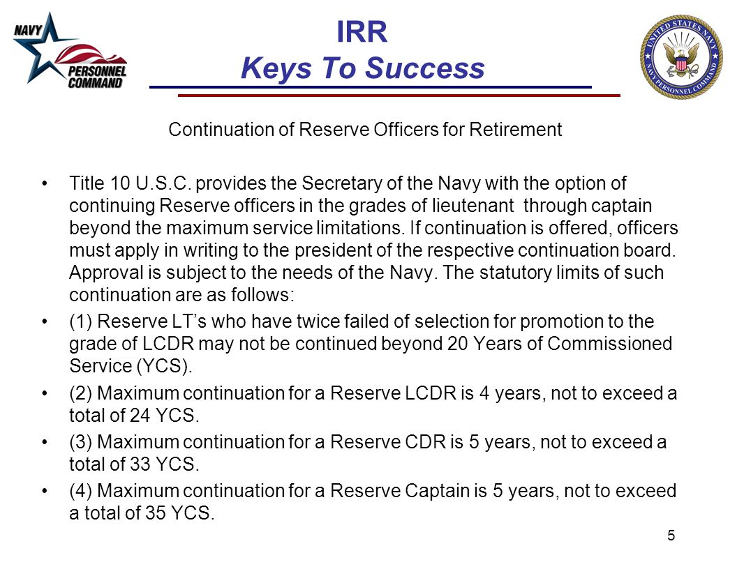 Continuation of Reserve Officers for Retirement