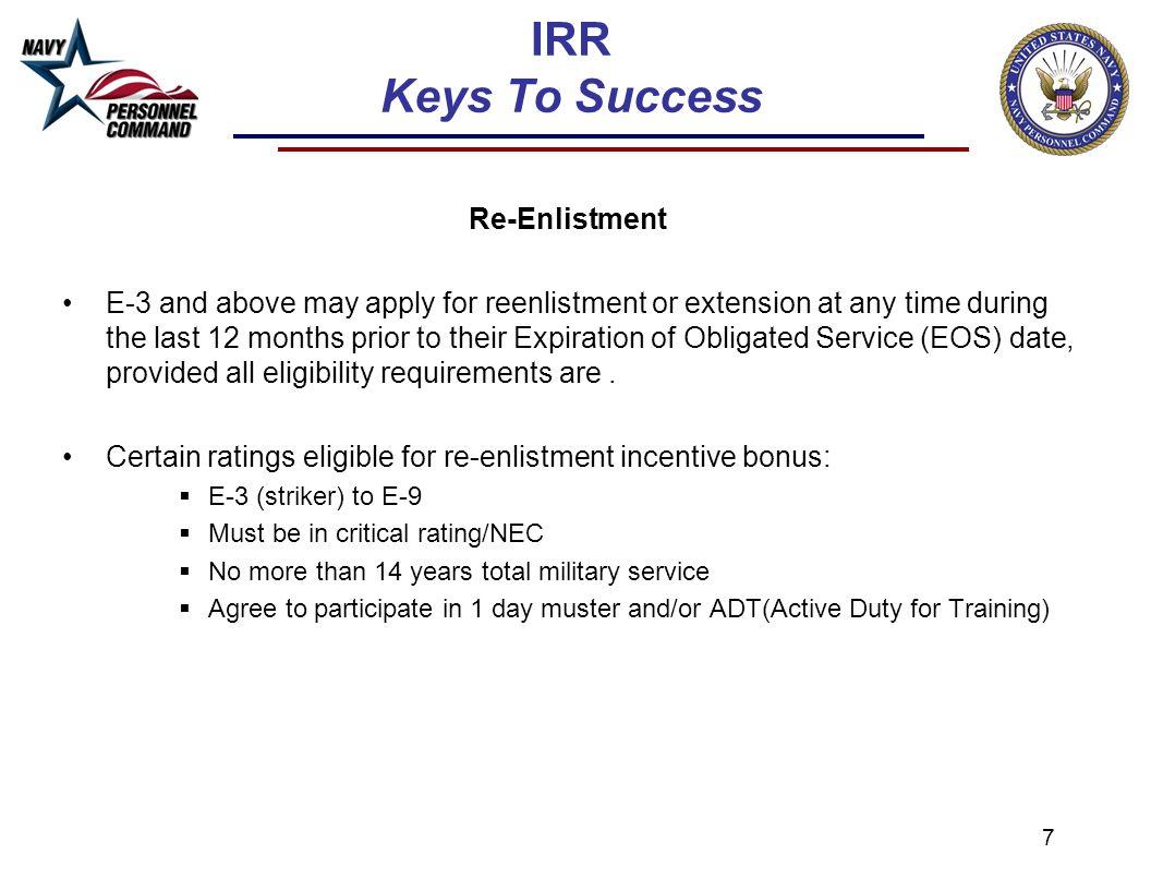 IRR Keys To Success Re-Enlistment