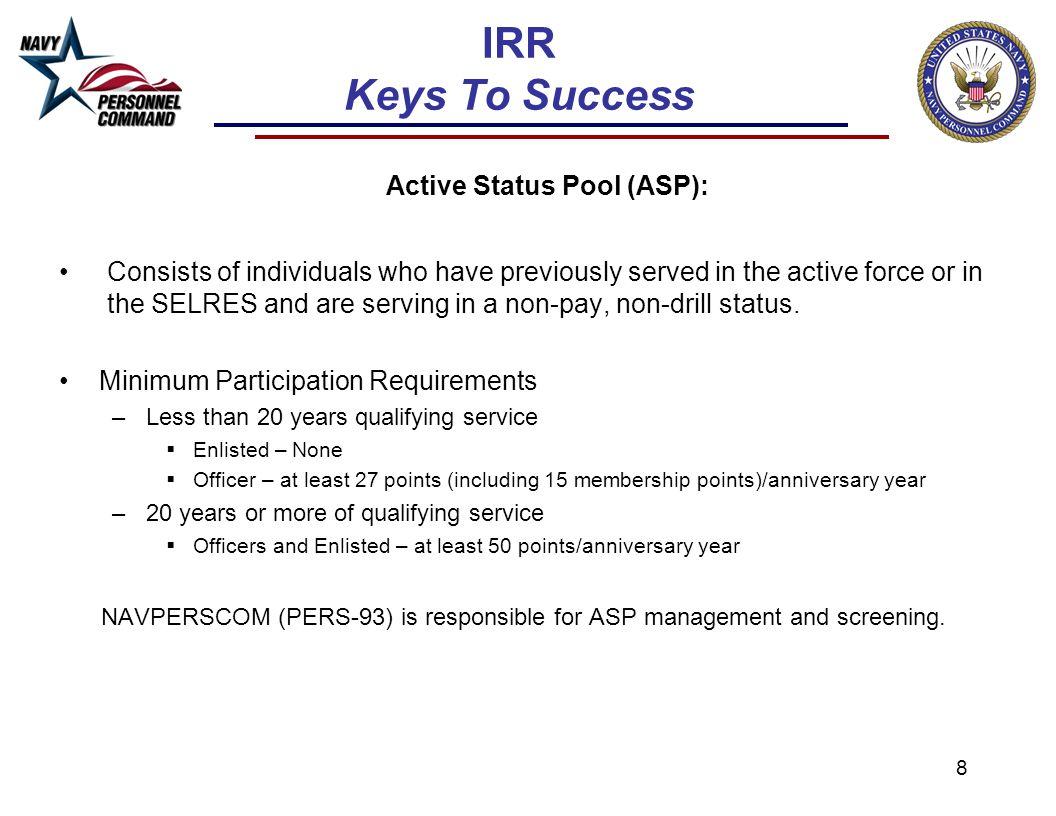 IRR Keys To Success Active Status Pool (ASP):