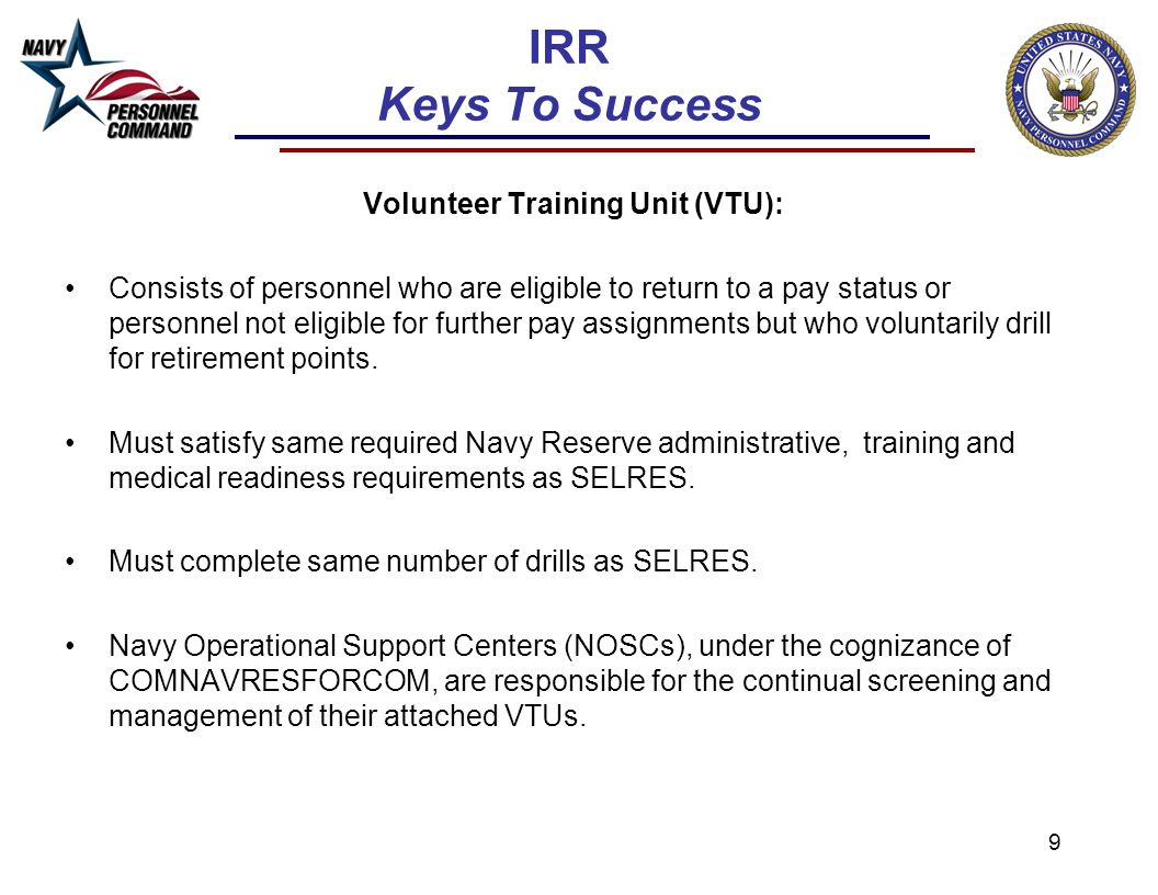 Volunteer Training Unit (VTU):