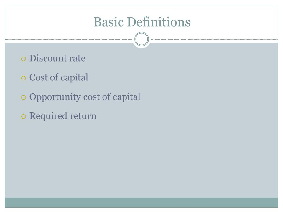 Basic Definitions Discount rate Cost of capital
