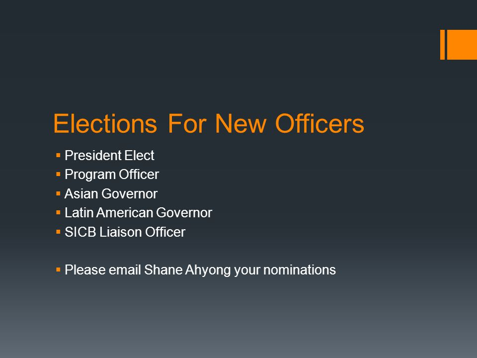 Elections For New Officers
