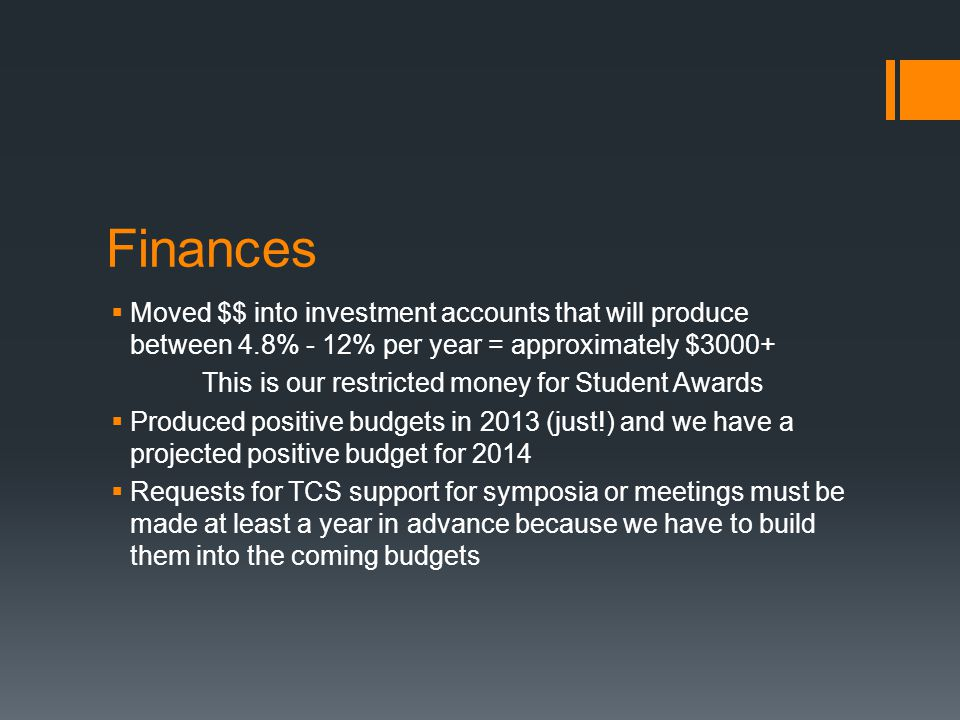 Finances Moved $$ into investment accounts that will produce between 4.8% - 12% per year = approximately $3000+