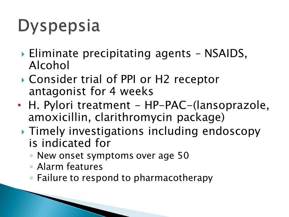 Dyspepsia Eliminate precipitating agents – NSAIDS, Alcohol