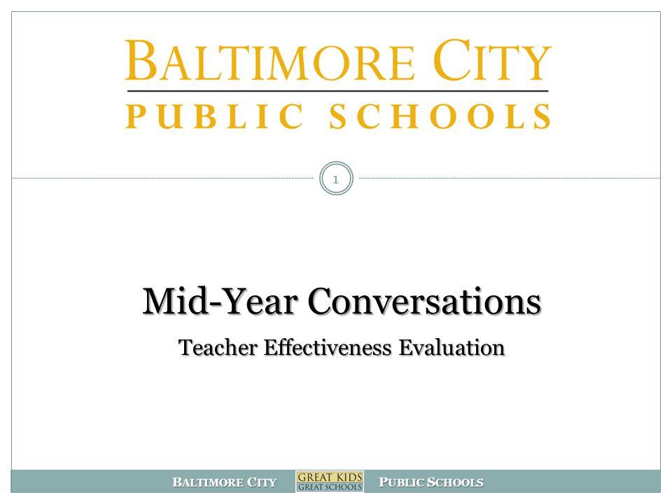 Mid-Year Conversations Teacher Effectiveness Evaluation