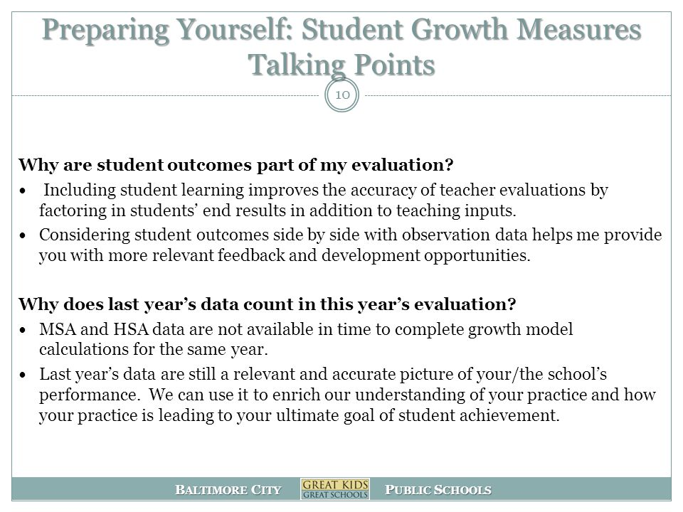 Preparing Yourself: Student Growth Measures Talking Points