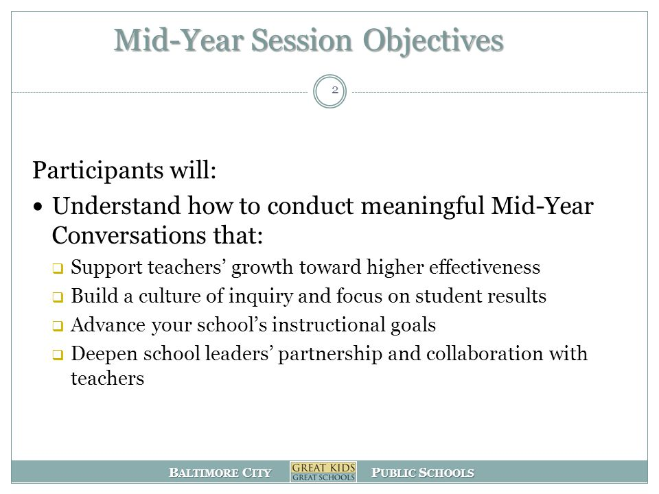 Mid-Year Session Objectives