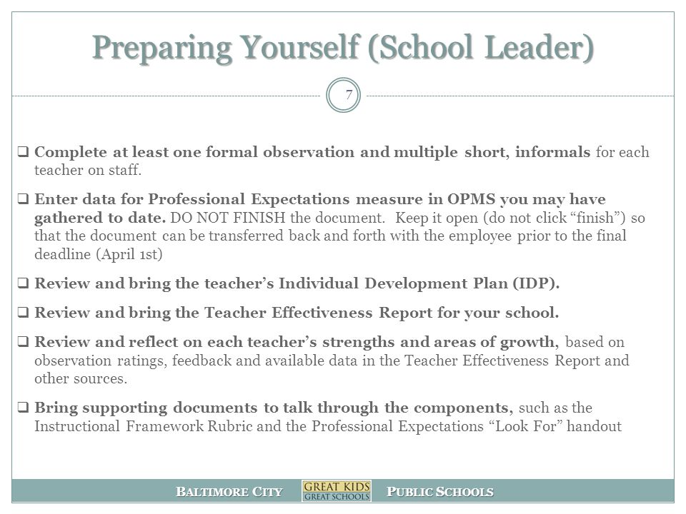 Preparing Yourself (School Leader)