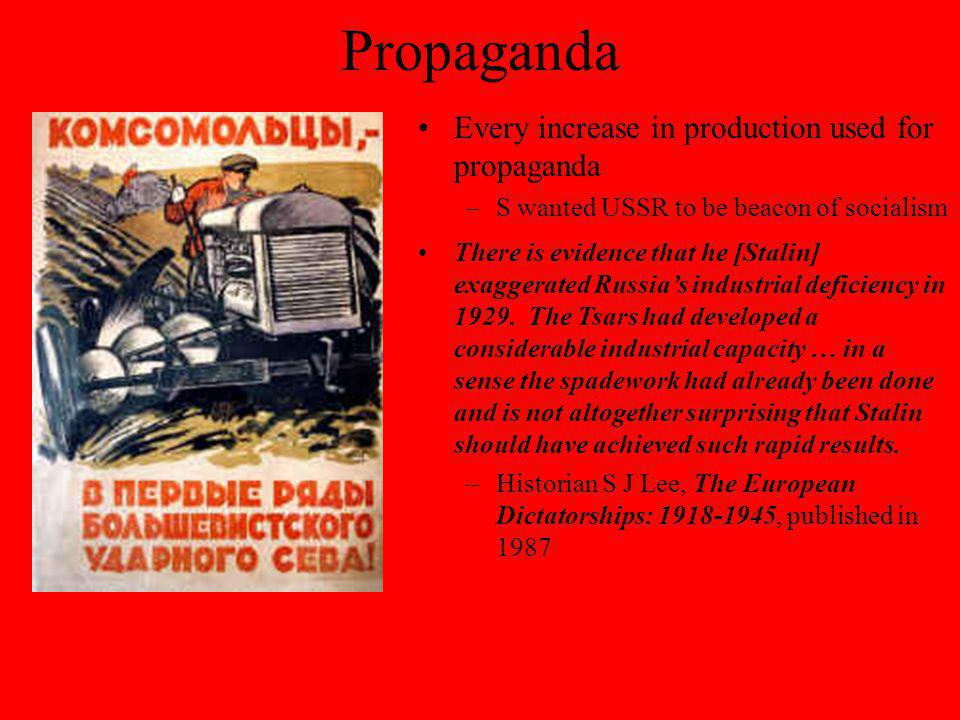 Propaganda Every increase in production used for propaganda