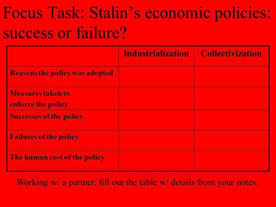 Focus Task: Stalin's economic policies: success or failure