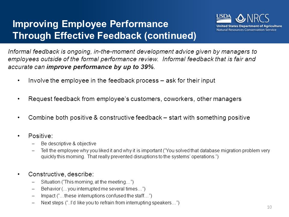 Improving Employee Performance Through Effective Feedback (continued)