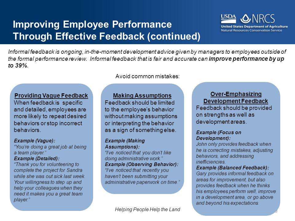 Providing Vague Feedback Over-Emphasizing Development Feedback
