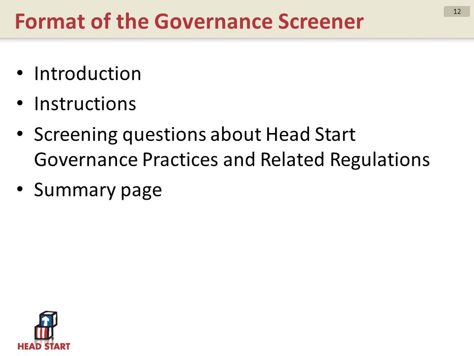 Format of the Governance Screener