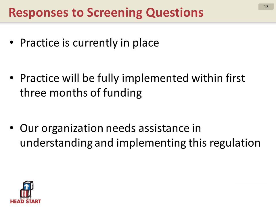 Responses to Screening Questions