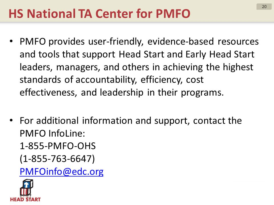 HS National TA Center for PMFO