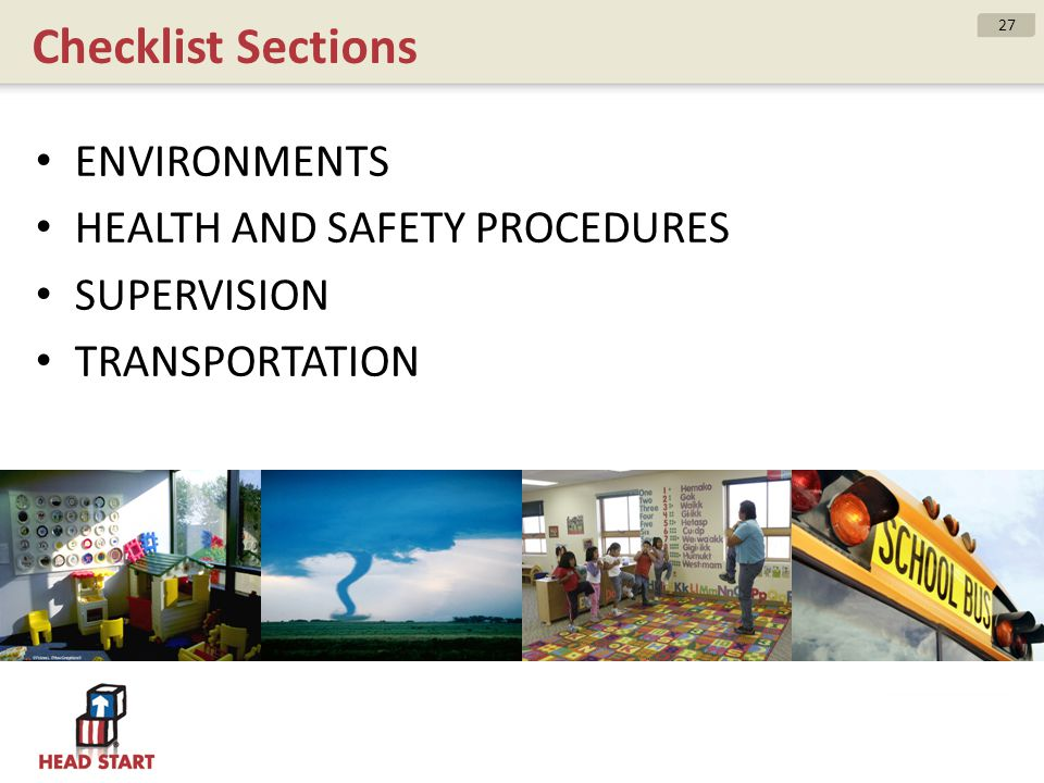 Checklist Sections ENVIRONMENTS HEALTH AND SAFETY PROCEDURES