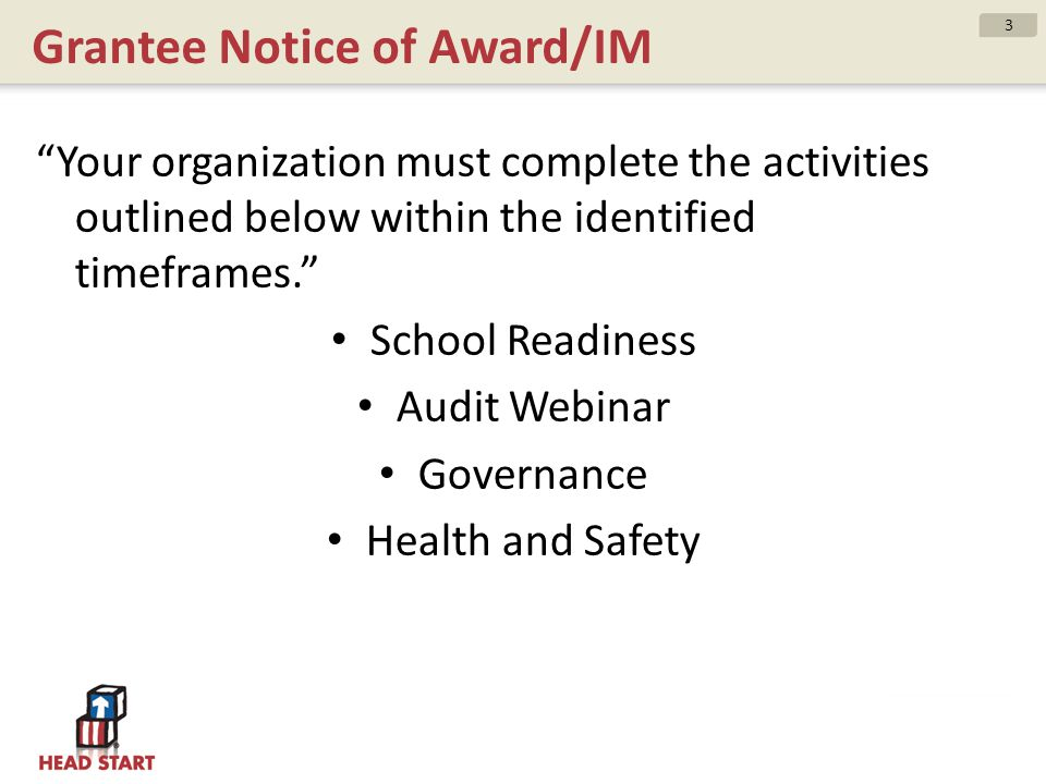 Grantee Notice of Award/IM